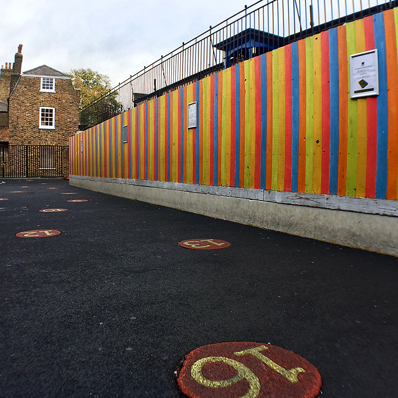 Primary School Inspired Coloured Fencing Playground
